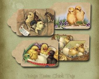 Vintage Ostern Küken und Eier druckbare Tags Instant digitaler Download
