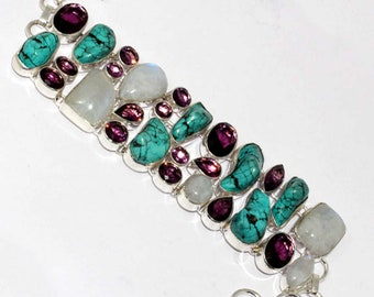 Rainbow Moonstone , Turquoise , Amethyst Faceted Handmade 925 Silver Plated Cluster Bracelet