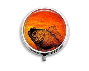 Pill Box Stash Case Curious Goldfish Silver