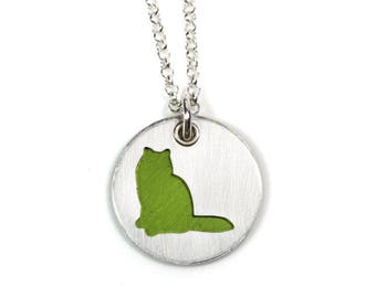 Lime Green Birman Cat Pendant and Necklace in Sterling Silver, Pet Themed Gift for Her, Cat Lovers Jewelry, Colorful