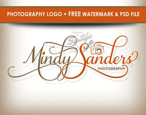 Photography logo with camera, free watermark and PSD source file, custom photo signature, professional logo, orange and beige logo design