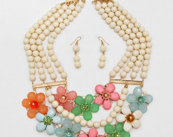 ON SALE Flower beaded Necklace, Bib Necklace, Multi strands, Ivory, pastel colors, handmade gift idea, gift for her.