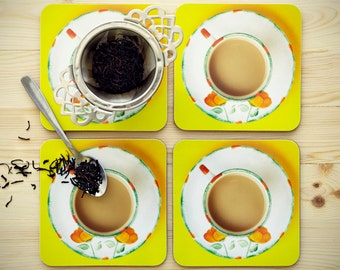 Teacup Coasters: SUNNY POPPIES Coaster Set With Quirky Teabag Gift Tag - Drinks Coaster - Tea Coaster -  Perfect Gift for Tea Lover