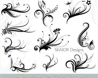 Swirls Clipart Vector Swirls Clip Art Digital Flourish Clipart Digital Scrapbooking Floral Wedding Invitations Card Making Logo Silhouette