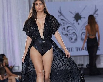 Black Lace Evening Gown/ Black Lace Maxi Robe/ Dresses for Women/ Formal Evening Dress/ Lace Maxi Dress/ Goth Black Dress with Bodysuit