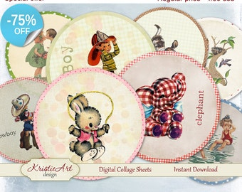 "75% OFF SALE Childhood - Digital Collage Sheet - Digital cards C085 Printable Download tags digital Kids 2.5"" Round Image 5cm Atc Cards"