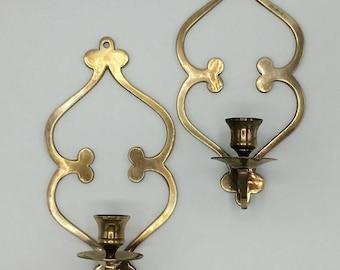 Vintage Brass Sconces, Wall Hanging Candleholders, Scroll Trefoil Design, Hollywood Regency