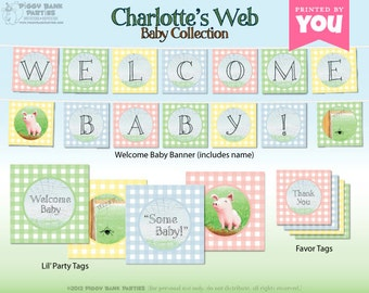 CHARLOTTE'S WEB Inspired Baby Collection : Print at Home Baby Shower Decorations | Storybook | Farm | DIY Printable | Digital Files
