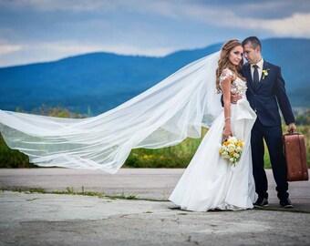 Wedding Veil/ White Tulle Extra Long Bridal Veil