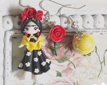 Fimo Polymer Clay Earrings Earrings Frida Kahlo ~ Kawaii Cute Chibi Mexican Rivera Paint Roses Yellow Red Flowers