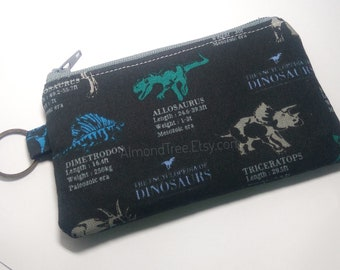 Dinosaurs, gift for men, boy school credit card case, padded coin purse, id180409 portemonnaie, moneybag, small zipper pouch