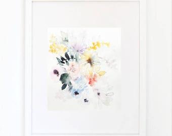 BOUQUET 2, original watercolor painting, 19/23 cm