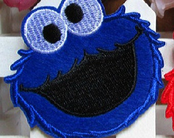ONE Blue Furry Monster Applique