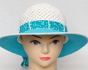 Polka dots hat Summer Hat Women Sun Hat Womens Hats Brim hat Crochet Hat Beach Hat Tea Party hat turquoise Wife gift for wife gift for women