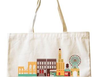City Living Tote bag - Brooklyn - New York - Market bag - Reusable bag - Canvas tote - Shopping bag - Shoulder bag - Organic