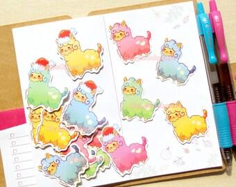 Alpaca Stickers. Kawaii Stickers. Llama Stickers. Christmas Stickers. Planner Stickers. Craft Stickers. Animal Sticker. Craft Supply. Kawaii