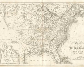 Antique map of United States of America, 1832, art deco old map,decor vintage, fine art print