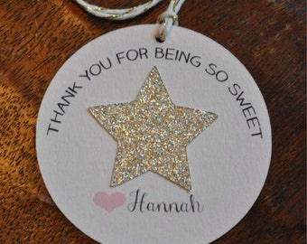 Personalized Blush pink favor thank you tags with gold glitter star