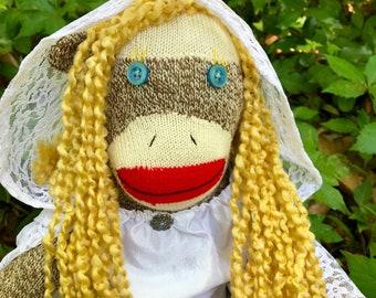 Lady Galadriel sock monkey -Ready to ship!