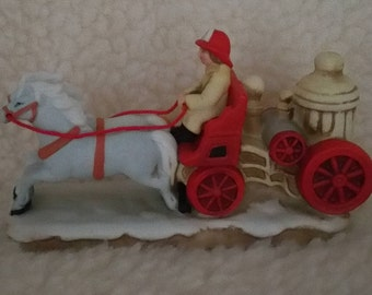 Lefton, Colonial, Village, Vintage, Firewagon, 6458, 1987, Hand Painted China, Figurines, Christmas, Collection, Collectibles