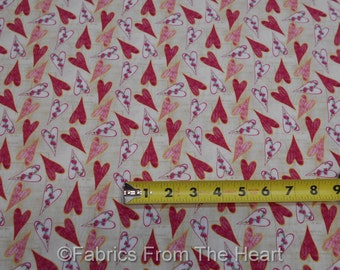 Cherry Blossom Love Hearts Flower on Ivory BY YARDS Blank Quilting Cotton Fabric
