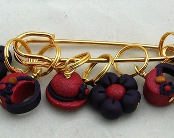 Stitch Markers RED HAT  for Knit or Crochet set of 6 Hatters