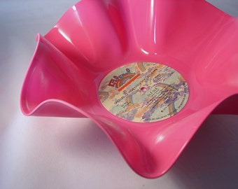 """Pink Record Bowl / Colored Record Bowl / Housewarming Gift / Rainbow / 12"""" Pink Vinyl Record Bowl / Candy Dish / Catch All"""