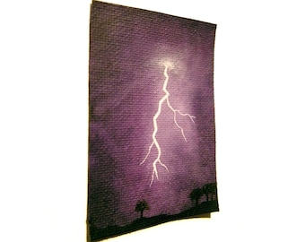 Lightning Strikes original ACEO - small painting of lightning fork from purple stormy clouds, mini acrylic weather art
