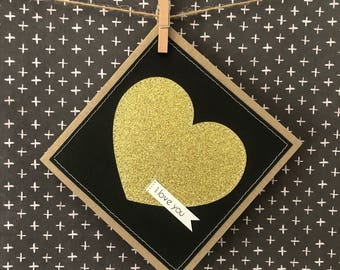 Valentines love heart handmade card / glitter heart i love you card