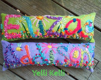Baby Gift Idea Hand Embroidered Name Pillow Made to Order Up To FIVE Letters YelliKelli