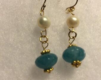 Blue sponge Quartz and pearl earrings