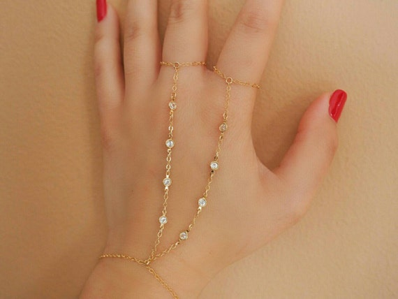 14k Gold 8 Cz Diamonds Double Ring Hand Piece/Dainty Jewelry/ Dainty Jewelry by Etsy