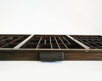 Letterpress Tray Display Shelf / Large Printers drawer / Hamilton Mfg Co / Vintage Wall Decor