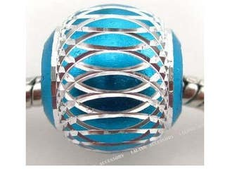 Lot of 15 blue beads patterns aluminum silver 15 mm