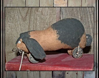 Primitive Folk Art Pull Toy Rabbit Bunny spool wheels HAFAIR faap OFG