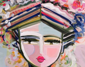 Warrior Girl Print woman art impressionist modern abstract girl paper or canvas Sienna