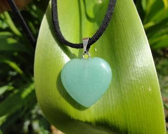 SALE 50% Heart Necklace, aventurine