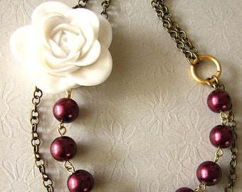 Statement Necklace Beaded Necklace Resin Flower Necklace Burgundy Necklace Maroon Jewelry Burgundy Jewelry