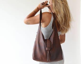 Leather Hobo Sling Bag, Hobo Leather Bag, leather hobo handbags, crossbody hobo bag, hobo shoulder bags, Brown Hobo Bag FREE SHIPPING