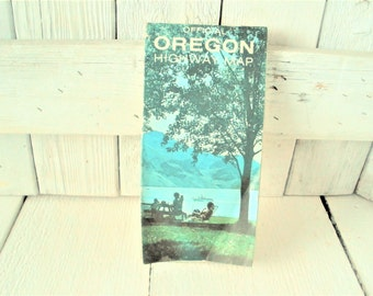Vintage Oregon map highway road Tom McCall folding 1972- free shipping US