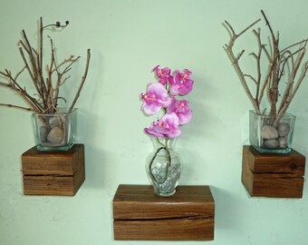 Reclaimed Wood Floating Beam Shelves - Set of 3