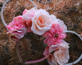 Princess Floral Twine Ears - White/Pink