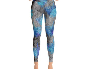 Yoga Leggings abstract blue and gray trees