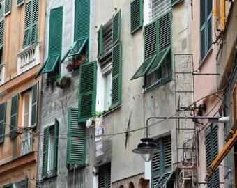 Italy Photography, Fine Art Print, Europe, Genoa, Windows, Travel Photography, Architecture Print, Home Decor, Wall Art, beige, Green