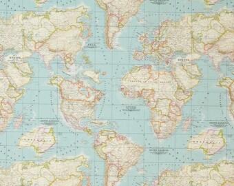 blue worldmap FABRIC, cotton & polyester, map pattern, world globe fabric, mint blue, fabric map