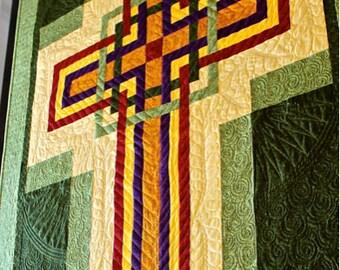 "Cross Quilt Pattern - Carpenters Corner Cross - Celtic Cross - Wall Hanging: 42"" x 56"" , PDF Download"