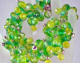 Dangling Handmade Green Yellow Glass Bracelet