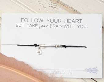 Arrow Bracelet, Graduation Gift, Compass Bracelet, Follow Your Heart, Funny Gifts, Leather Bracelet, Adjustable Bracelet Arrow Jewelry