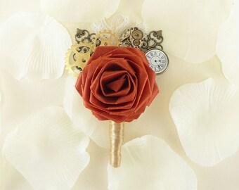Steampunk Rose Boutonniere - Steampunk Noir style, Origami Groom boutonniere, Groomsmen boutonniere, Steampunk Wedding, Gothic boutonniere