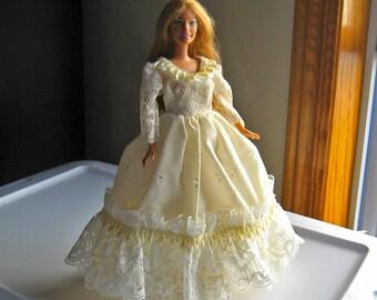 Ivory Eyelet Barbie Dress with Ivory Lace